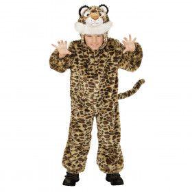 Jumpsuit Met Kap En Masker 98 Centimeter Savanne Luipaard Kind Kostuum