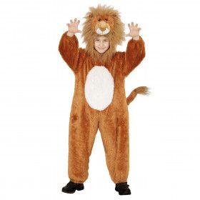 Jumpsuit Met Kap En Masker 98 Centimeter Koning Leeuw Kind Kostuum