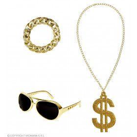 Foute Gouden Rapper Set Zonnebril, Ketting, Armband