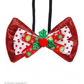 Vlinderdas Kerst Met Hulst Rood