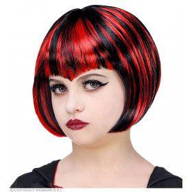 Rood Zwarte Bebop Vampier Pruik