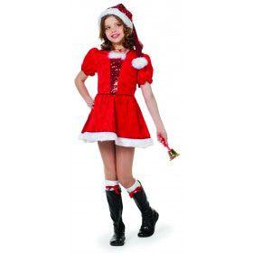 Stralend Rood Kerstmeisje Pailletten Jurk Met Muts