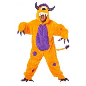 Mazelen Monster Oranje Kind Kostuum