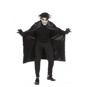 Razende Roemeense Dracula Cape Dubbel Met Kraag Zwart