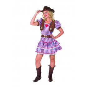 Bont En Blauwe Stoere Cowgirl Vrouw Kostuum