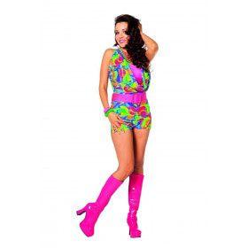 Boogie All Night Disco Jumpsuit Kort Vrouw Kostuum