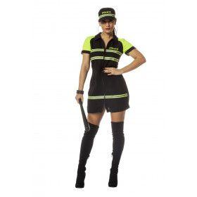 Sta Of Ik Sla Politie Agente Vrouw Kostuum