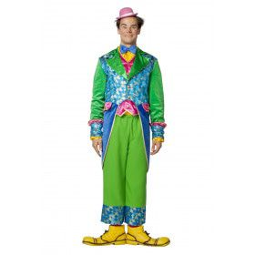 Felgroene Clown Circus Salto Man Kostuum