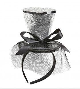 Zilveren Glitter Mini Hoge Hoed Met Sluier