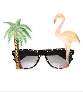 Bril Tropisch Flamingo En Palmboom