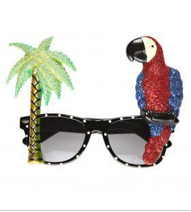 Bril Tropisch Papegaai En Palmboom
