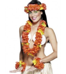 Rode Hawaiiaanse Bloemen Set
