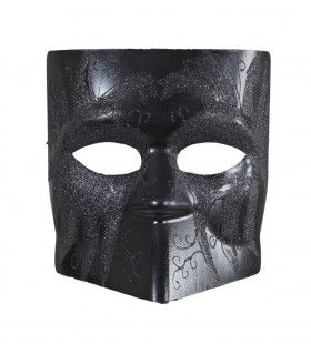 Venetiaans Doge Masker Zwart Met Glitter