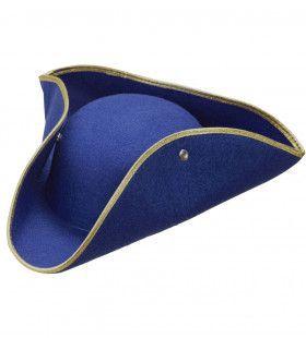 Traditionele Steek Hoed Vilt Blauw