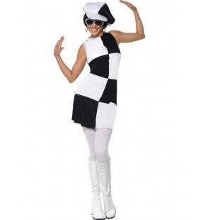 Sixties Black And White Partygirl Vrouw Kostuum