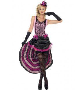 Roze Verleidelijke Burlesque Dame Vrouw Kostuum