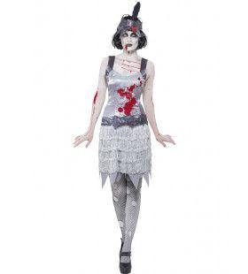 Zombie Horror Flapper Vrouw Kostuum
