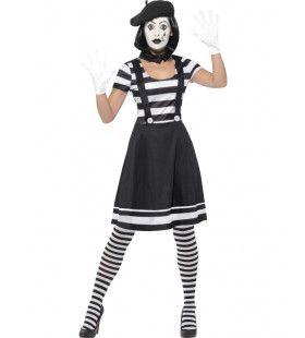 Vrouwelijke Parisiene Mime Arties Kostuum