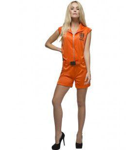 Hete Oranje Gevangene Vrouw Kostuum
