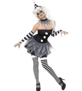 Sinistere Pierrot Clown Vrouw Kostuum