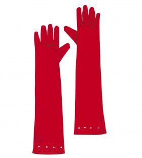 Ms Classy Lips Glamourgirl Handschoenen Satijn, Kind Rood