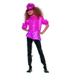 Roze Ruchesblouse Satijn Disco Mini-Lady Meisje