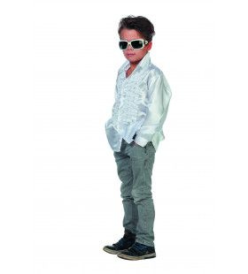 Witte Ruchesblouse Satijn Disco Fly-Boy