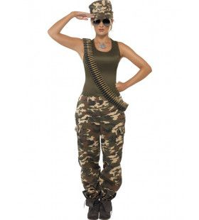 Kaki Camouflage Jane Vrouw Kostuum
