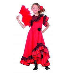 Rode Flamenco Jurk Spaanse Senorita Carmen Meisje