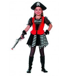 Soldadera Piraat Zwart / Wit Streep (Meisje) Kostuum