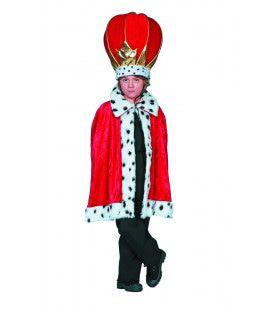 Hermelijnen Prinsencape Rood Jongen Kostuum