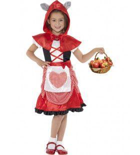 Roodkapje Met Hartjesschort Meisje Kostuum