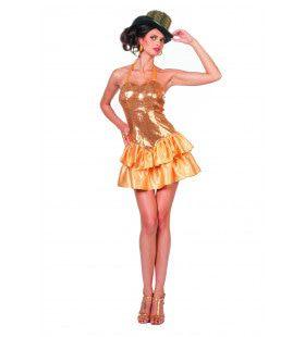 Gouden Paillettenjurk Met Satijn Rokje Cancan Vrouw