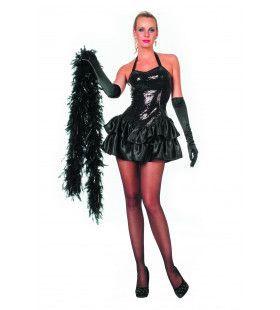 Zwarte Paillettenjurk Met Satijn Rokje Cancan Vrouw