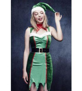 Stoute Kerstelf Vrouw Kostuum