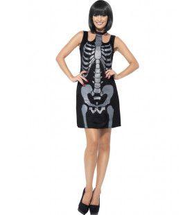 Zwarte Skelet Jurk Vrouw