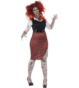 Zombie Schoolmeisje Maatje Meer Vrouw Kostuum