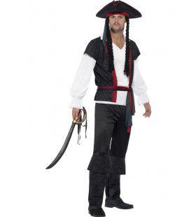 Klassieke Zwarte Overboordpiraat Man Kostuum