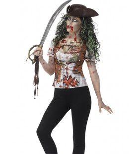 Zombie Piraat T-Shirt Dame Vrouw