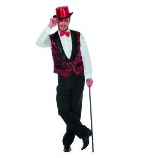 Circus Omroeper Vest Pailletten Rood Man