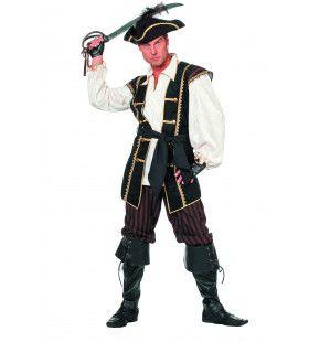 Koninklijke Piraat Bruin Man Kostuum