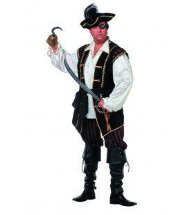 Koninklijke Piraat Bruin Man Plus Size Kostuum