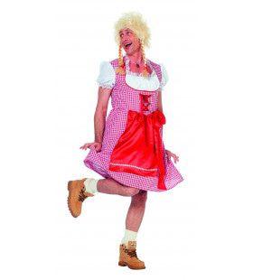 Travestiet Dirndl Edelweiss Man Kostuum