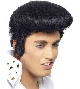 Officiele Zwarte Elvis Pruik Met Vetkuif