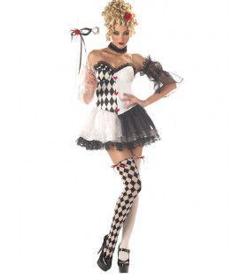 De Mooie Harlequin Clown Vrouw Kostuum
