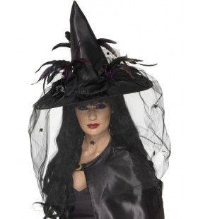 Zwarte Heksenhoed Met Net Vrouw