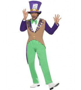 Paars Mad Hatter Man Kostuum