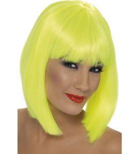 Gele Neon Glam Pruik Vrouw