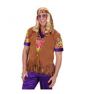 Hippie Vest Met Hoofdband Suedelook Man