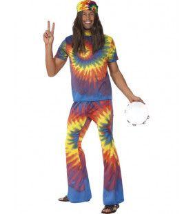 60s Tie Dye Hippie Man Kostuum